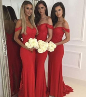 Wholesale Dark Red Wedding Gowns - Red Off Shoulder Long Bridesmaid Dresses With Applique Mermaid Dresses For Wedding Back Zipper Custom Made Sweep Train Bridesmaid Gowns 2017