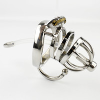 Wholesale cock ring hook - New Arrival Stainless Steel Male Chastity Belt With arc-shaped Cock Ring Testicular Separated Hook Sex Toys For Men Chastity Device