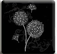 Wholesale Wholesale Iron Rhinestone Appliques - Free shipping dandelion shinny collar Rhinestone Iron on heat Transfer Hot fix Motif crystal rhinestone transfer in sewing fabric..
