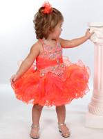 Wholesale Halter Girls Pageant Dresses - Toddler Glitz Pageant Dresses 2017 with Beaded Halter Neck and Tutu Skirt Orange Girls Christmas Dresses Custom Made