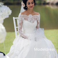 Wholesale Cheap Taffeta - Long Sleeves Lace VintageWedding Dresses 2017 Bateau A Line Court Train Western Real Images Beach Bridal Gowns Cheap Custom Made