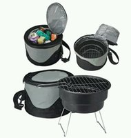 Wholesale mini cast iron BBQ charcoal grill outdoor simple Charcoal Commercial BBQ charcoal grill with cooler bag camp stove