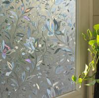 banyo buzlu cam toptan satış-Tutkallı pencere çıkartması olmayan 45 * 100cm statik buzlu cam pencereler film etiketleri banyo penceresi çıkartması saydam opak
