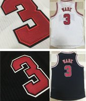 Wholesale Logo Au - AU Edition #3 Dwyane Wade Home Road Basketball Jerseys Mens New Material Dwayne Wade White Black Jersey Embroider Logos For Sale