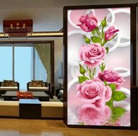 Wholesale Collectible Art Prints - 5D Needlework Diy Diamond Painting Cross Stitch Pink Rose Diamond Embroidery Flower Vertical Print Round Drill Home Decor