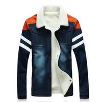 Wholesale Men Fit Coat - Wholesale- Brand men's Jean jacket Print plus size 5XL denim jacket Slim fit for men winter Cashmere thick velvet Coat jacket Fashion Man