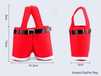 Wholesale Christmas Hot Pants - Hot sale Santa Claus Christmas Santa pants style Christmas candy gift bag Xmas Bag Gift DHL