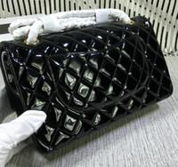 Wholesale Vintage Rabbits - 25cm 1112 Black Patent Leather High Quality Women Le Boy Chain Lambskin Real Caviar 67086 Bag Shoulder Handbag Flap Bag 25.5*16*7cm