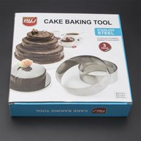 Wholesale Mousse Cake Mold - Hot Sale Round Stainless Steel Circle Mousse Ring Baking cake Tool 3Pcs Set 3 Layer Cake Mould Bakeware Mold