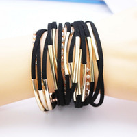 Wholesale suede bracelets - Fashion Handmand Leather Bracelet Silver and Gold Colors Multilayer Woven Cup Chain Bracelet Magnetic Clasp Suede Leather Charm Bracelet