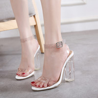 Wholesale Crystal Ankle Strap Shoes - Milan transparent white black ankle strap thick high heel crystal shoes fashion summer sandals size 35 to 40