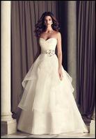 Wholesale Drag Wedding Dress - New Wedding Dress A-line Sweetheart Drag Handmade Flower Beaded Belt Straps Of Organza Wedding Dress