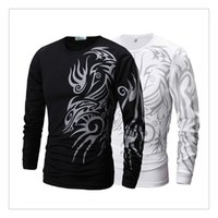 Wholesale Tattoo Sleeve T Shirts Men - T-shirts for Men Spring&autumn Dragon Tattoo Sprinting Men's Casual Slim Fit Long Sleeves Sports T-shirts US Size:XS-XL