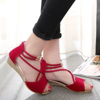 Wholesale Girls Red Leather School Shoes - 2017 Summer flat with sandals female shoes Korean version girls high school students high school students shoes
