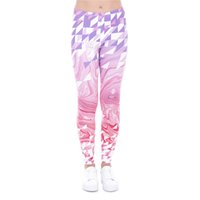 Wholesale Workout Capris - Girl Leggings Triangles Pink Marble 3D Print Women Skinny Stretchy Pencil Pants Tight Capris Colorful Pattern Yoga Workout Trousers (J43476)