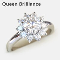 2 quilates tcw No menos que GH Engagement Wedding Lab Grown Moissanite Diamond Rings 14K 585 Oro blanco Test Diamante positivo q171026