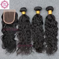 Wholesale Rosa Brazillian - Rosa Brazilian Water Wave Virgin Hair With Closure Brazillian Virgin Hair Wet and Wavy Brazilian Hair 3-4 Bundles With Closure