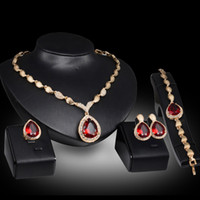 Wholesale Red Heart Wedding - Red Gemstone Water Drop Necklace Earrings Rings Jewelry Sets Gold Chain Pendants Crystal Statement Jewelry Bride Wedding Jewelry Drop Shipp