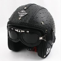 Wholesale Leather Motorcycle Helmet Xl - 2017 High quality Classical Leather Vintage Motorcycle Helmet Handmade Chopper Motorbike helmets with Goggles DOT Approved