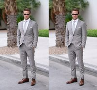 Wholesale Mens One Button Dress Suits - Two Buttons Gray Mens Suits Lapel Wedding for men Groom Wedding Suits Men Dresses Wedding Tuxedos 2 Pieces