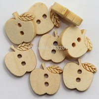 Wholesale Natural Wood Craft Buttons - Wholesale Acces 100 pcs Kids Wood Button Diy Sewing Scrapbooking Crafts Cartoon Apple Wooden Button 2 Holes 14x13mm Natural Color