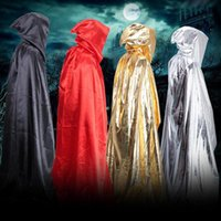 Wholesale Gothic Men Costume - Bright Cloth Cloak Halloween Adult Maxi Cape Costume Hooded Long Loose Cape Cosplay Stage costume Dead Man Wizard Witch Party Dress