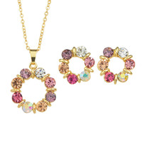 Wholesale Golden Necklace Earrings - Latest Designed Fashion Colorful Rhinestones Flower Looking Jewerly Sets with Necklace and Earrings