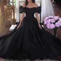 Wholesale Simple Black Cocktail Dress Designs - Unique Design Black Formal Evening Dresses 2017 Off Shoulder Robe de soiree Long Prom Gowns Sexy Bateau Neck Arabic Style