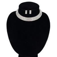 elegantes pulseras de cuentas de cristal al por mayor-La joyería de la novia Elegante Cristal Sola Fila Cuentas Collar Pulsera Pendientes para Las Mujeres Conjuntos de Joyería Nupcial