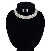 Wholesale Single Rhinestone Necklace - The bride jewelry Elegant Crystal Single Row Beads Necklace Bracelet Earrings for Women Bridal Jewelry Sets