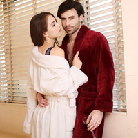Wholesale sexy winter nightgowns - Wholesale Bathrobes Free Shipping Winter Warm Sleepwear With Belt Flannel Wedding Bridal Cold Protection Sexy Wedding Nightgown
