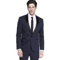 Wholesale Tailor Dress Groom - Tailor made men's suits Slim Fit Groom suits Tuxedos Navy bule Mens Wedding Best Man dress suits (Jacket+Pants)