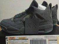 Wholesale Grey Market - New Arrival With Box Retro 4 Kaws Basketball Shoes Air IV Grey Color Glow Suede Shoes Best Quality In Market Size 41-47.5