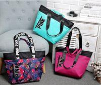 Wholesale Blue Beach Bags - New Fashion 3 Colors Women VS Love Pink Shoulder Bags Handbags Large Capacity Travel Duffle Striped Waterproof Beach Bag Shoulder Bag