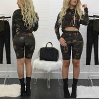 Frauen Shorts Sets 2017 Camouflage Anzüge Langarm Camo Crop Tops 2 Stücke Hosen Sets Slim Fit Kurze Hose Mode Zweiteilige Sets