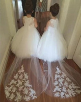 Wholesale Pink Small Girls Model - New Fashion Flower Girl Dress Small O-Neck Lace Appliques Ball Gown Girl Party Dress with Long Train Custom made