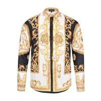 Wholesale Mens Colour Prints - 3D Floral Print Mixture Colour casual harajuku stylish Design mens long sleeved shirts M-3XL medusa casual shirts