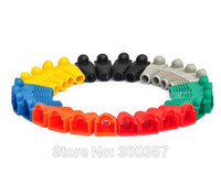 El enchufe de gato de la red 20pcs / lot de conectadores RJ45 abotona los casquillos Cat5 Cat6 10colors o cada color 20pcs