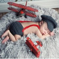 Wholesale Crochet Baby Wear - Newborn Baby Photography Props Hat Pant Clothing Set Infant Knit Crochet Costume Soft Outfits+Pants Baby Clothing Photo Wear