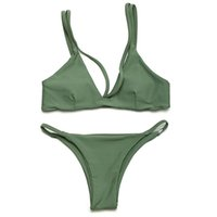 Wholesale sexy women micro swimwear online - Hot Sexy Women Swimsuit Micro Bikini Set Bathing Suits With Halter Strap Swimwear Brazilian bottom Monokini