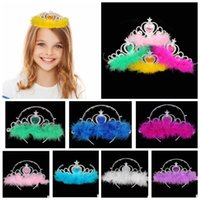 Wholesale crown combs - Kids Princess Crown Hair band Accessories Rhinestone Hair Hoop For Party crown Girls feather Hair Accessories 8colors KKA3548
