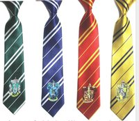 Wholesale Children Costume Accessories - 2017 Harry Potter School Necktie College Ties Cartoon Tie With Badge Slytherin Ravenclaw Costume Accessory Children Tie