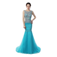 Wholesale Sparkling Long Mermaid Dresses - Real sample Scoop Neck Mermaid Prom Long Dresses Sweep Train Sparkling Crystal Ice Blue Cheap Long Prom Gowns