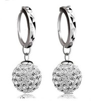 Crystal Ball Dangle Brincos Presente de Natal DHL Rhodium Plated Jóias 925 Brincos Pingente de Prata Shambala Diamond Jewelry
