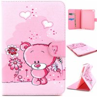 Wholesale Ipad Covers Flowers Pink - Pink Bear Flower Design Pu Leather Flip Stand Folio Card Holder Pouch Cover Case For Apple iPad Mini 4 Mini4 Tablet Protective Shell