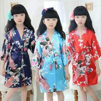 Wholesale Wholesale Kids Silk Robes - Children Silk Rayon Kimono Bathrobe Girls Kids Robe Night Gown Floral Sleepwear Pajamas 10 Colors OOA1909