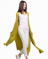 Wholesale Computer Sale Lowest Price - Wholesale- LOWEST PRICE Hot Sales Women Sleeveless Long Cardigan With Pocket Cashmere Blend Knitted Fashion Split Style All-match Sweater