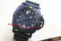Wholesale Titanium Diving Watches - The new factory direct sale Men's Mechanical Black Pvd Carbotech Fiber Watch Men Auto Date Luminous Dive Rubber Pam Watches pam 616 pam616