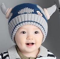 Wholesale Knit Baby Cow Hat - New Autumn Winter Baby Cartoon Milk Cow Hat Kids Knitted Cap Girls Boys Warm Beanies Children Hats M68