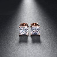 Silver / 18K Rose Plaqué Or 1ct Cushion Cut CZ Diamond Nickel Free Large Stud Earrings Wholesale pour Femmes